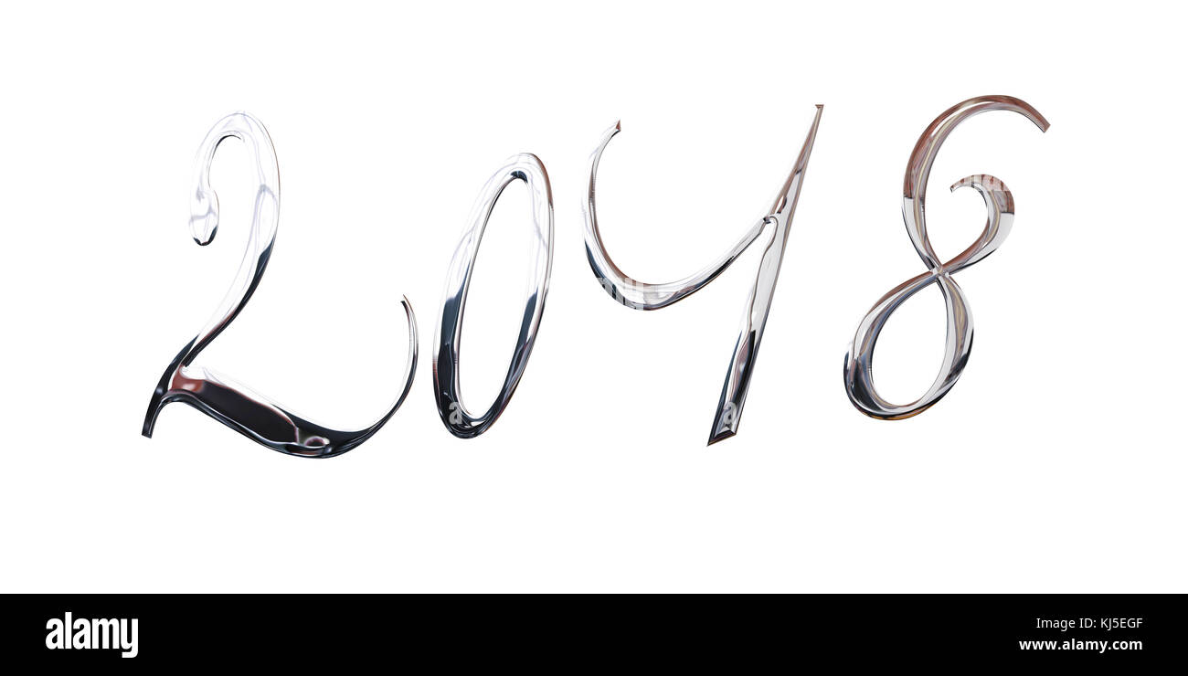 2018, elegant shiny 3D silver metal letters isolated on white background - Stock Image