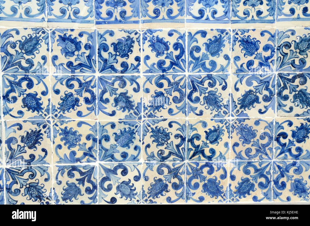 Part of a panel of old blue mosaic tiles Lisbon Portugal Stock Photo ...