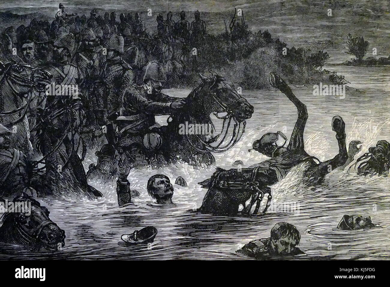 Illustration depicting the river disaster of the 10th Hussars during the Second Anglo-Afghan War. The illustration Stock Photo