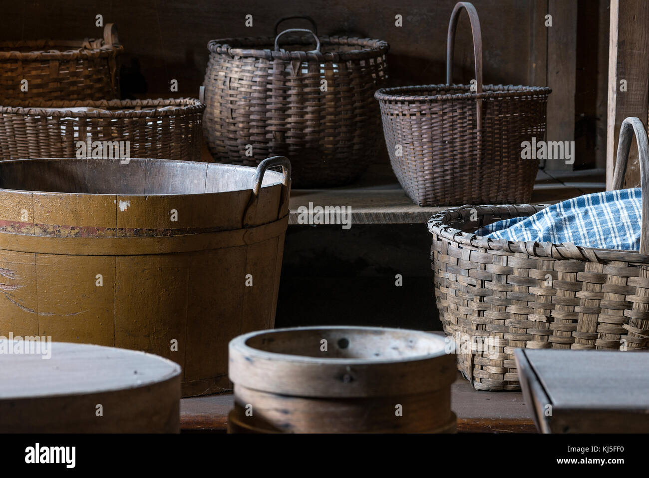 Variety of Shaker baskets, Hancock Shaker Village, Massachusetts, USA. - Stock Image