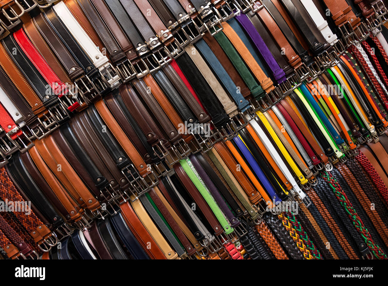 Italian leather belts on display, Florence, Italy. - Stock Image
