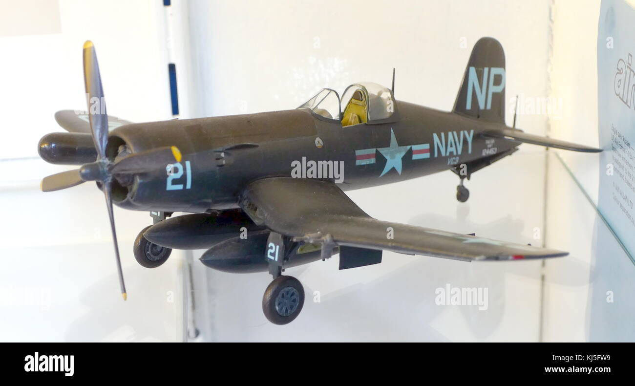 Model of a F4U-5N CORSAIR VC-3 used by the United States Navy ship USS Princeton during the Korean War. Dated 20th - Stock Image
