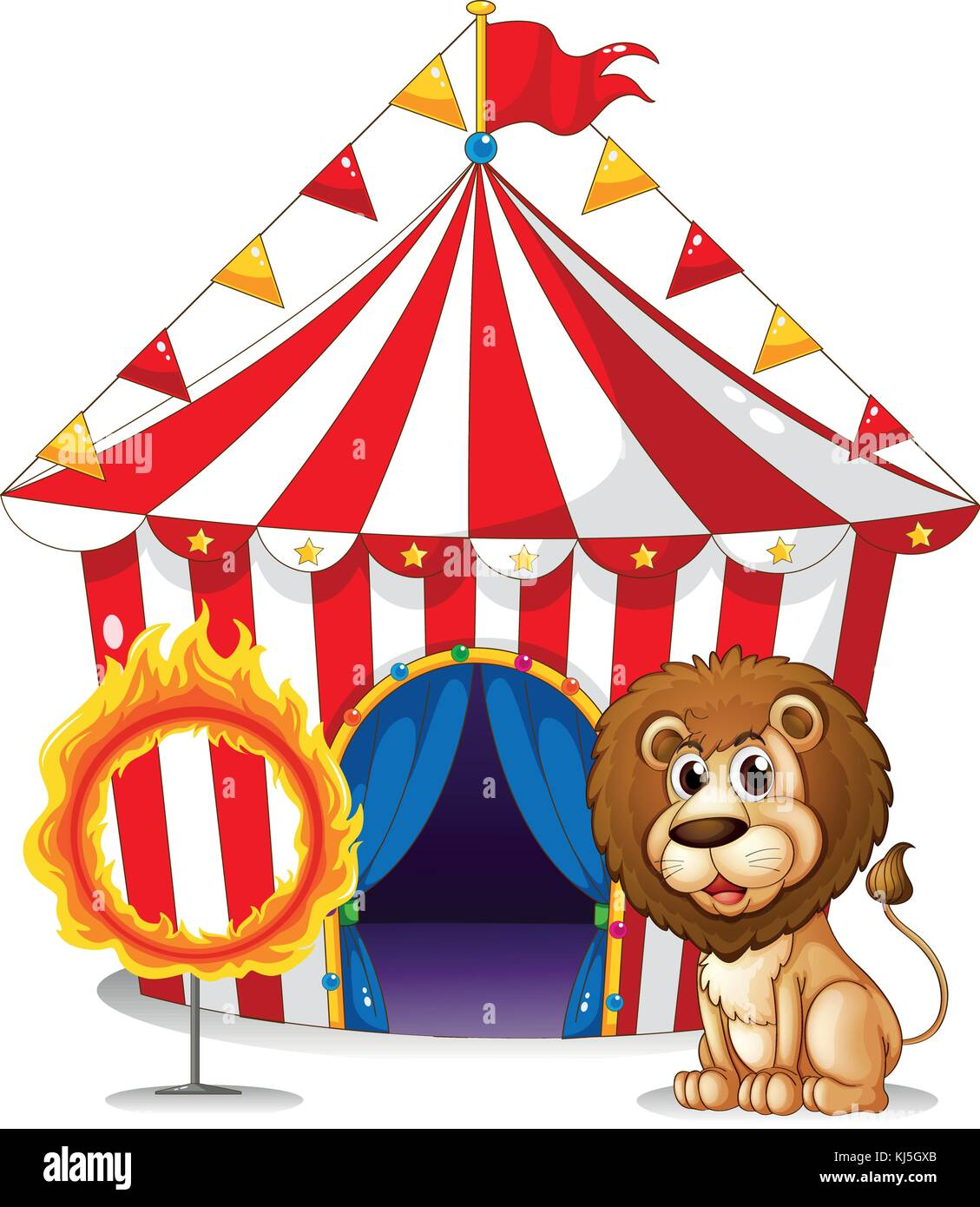 Illustration of a lion and a ring of fire at the carnival on a white background - Stock Image