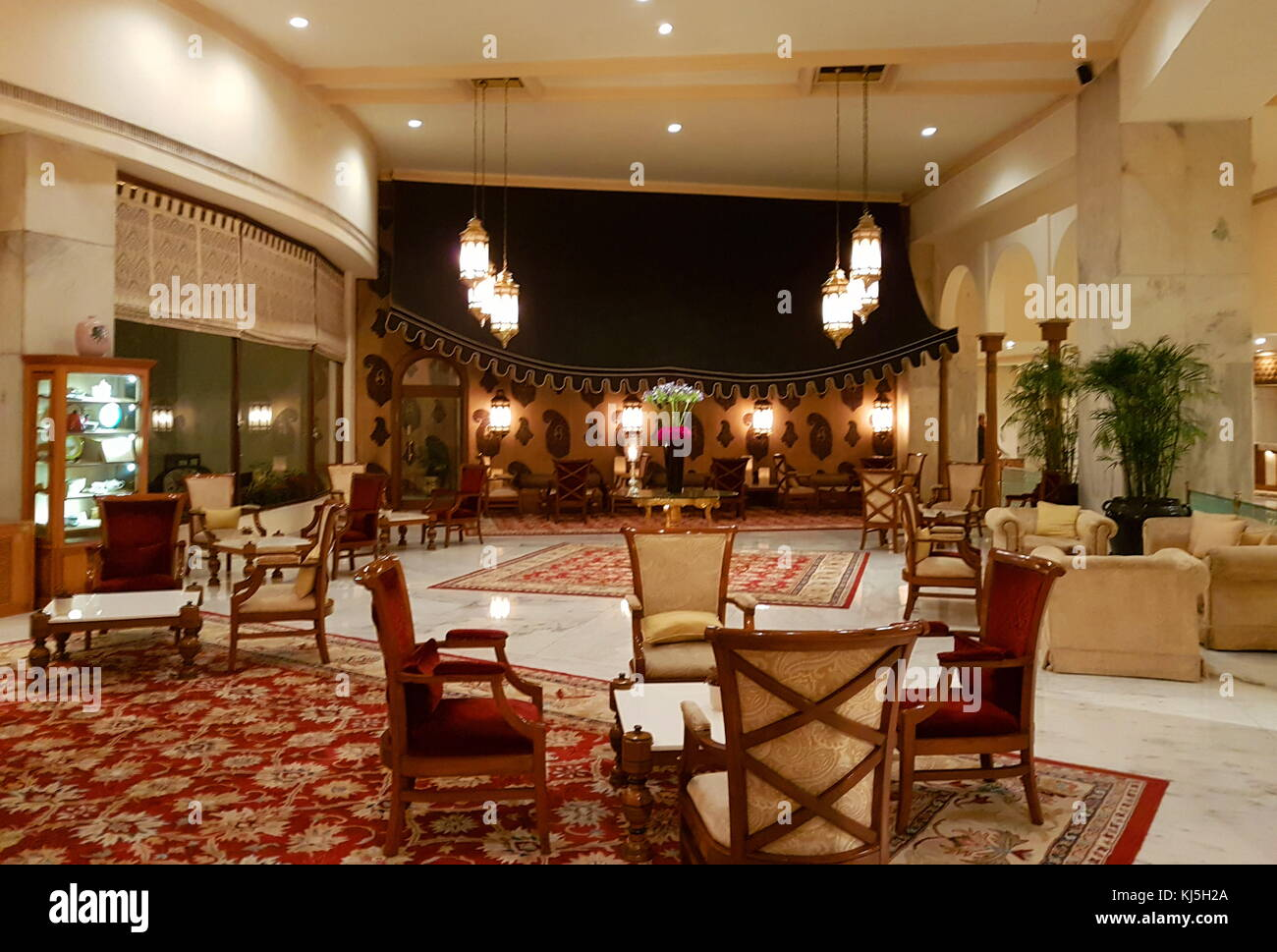 lobby and guest reception area in the Five Star, Taj Palace Hotel, Delhi, India Stock Photo