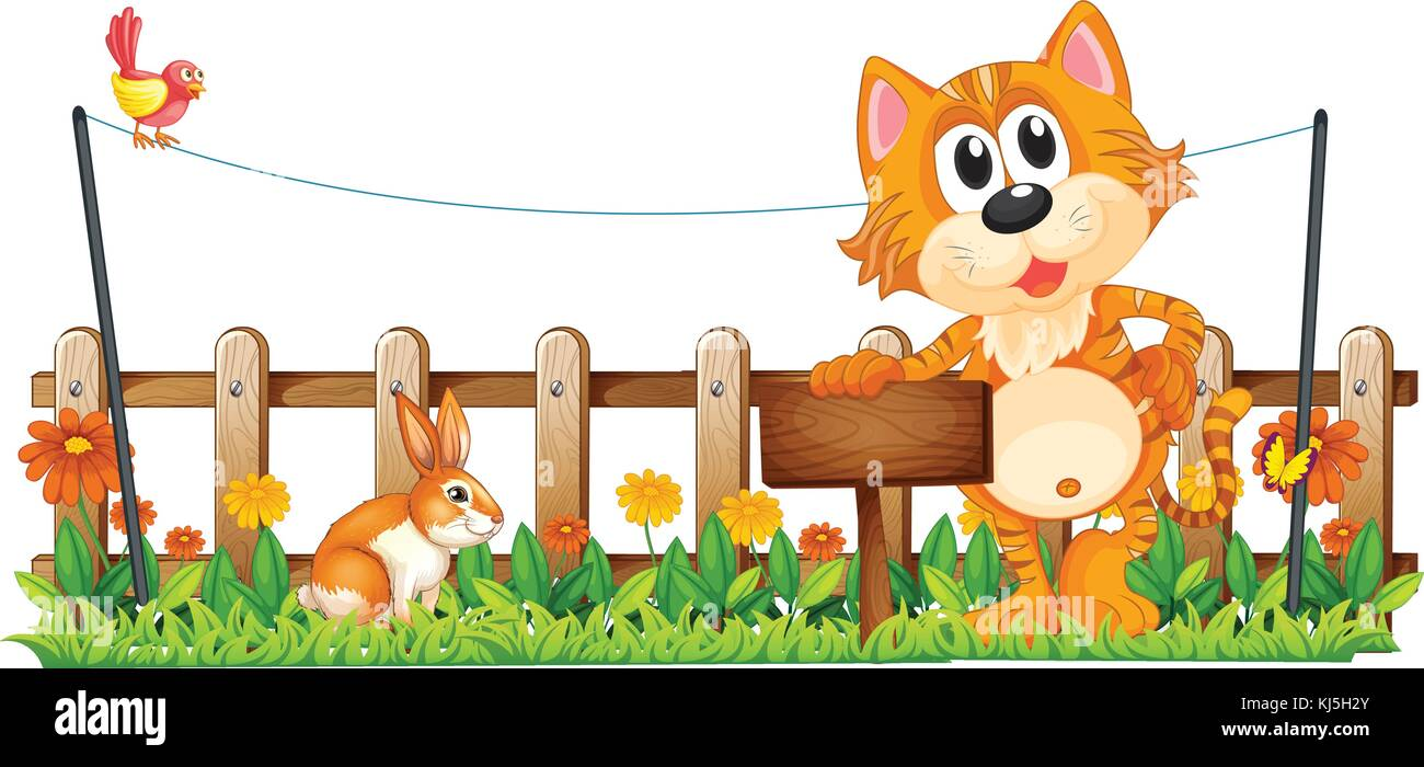 Illustration of a tiger holding an empty wooden signboard near the fence on a white background - Stock Vector