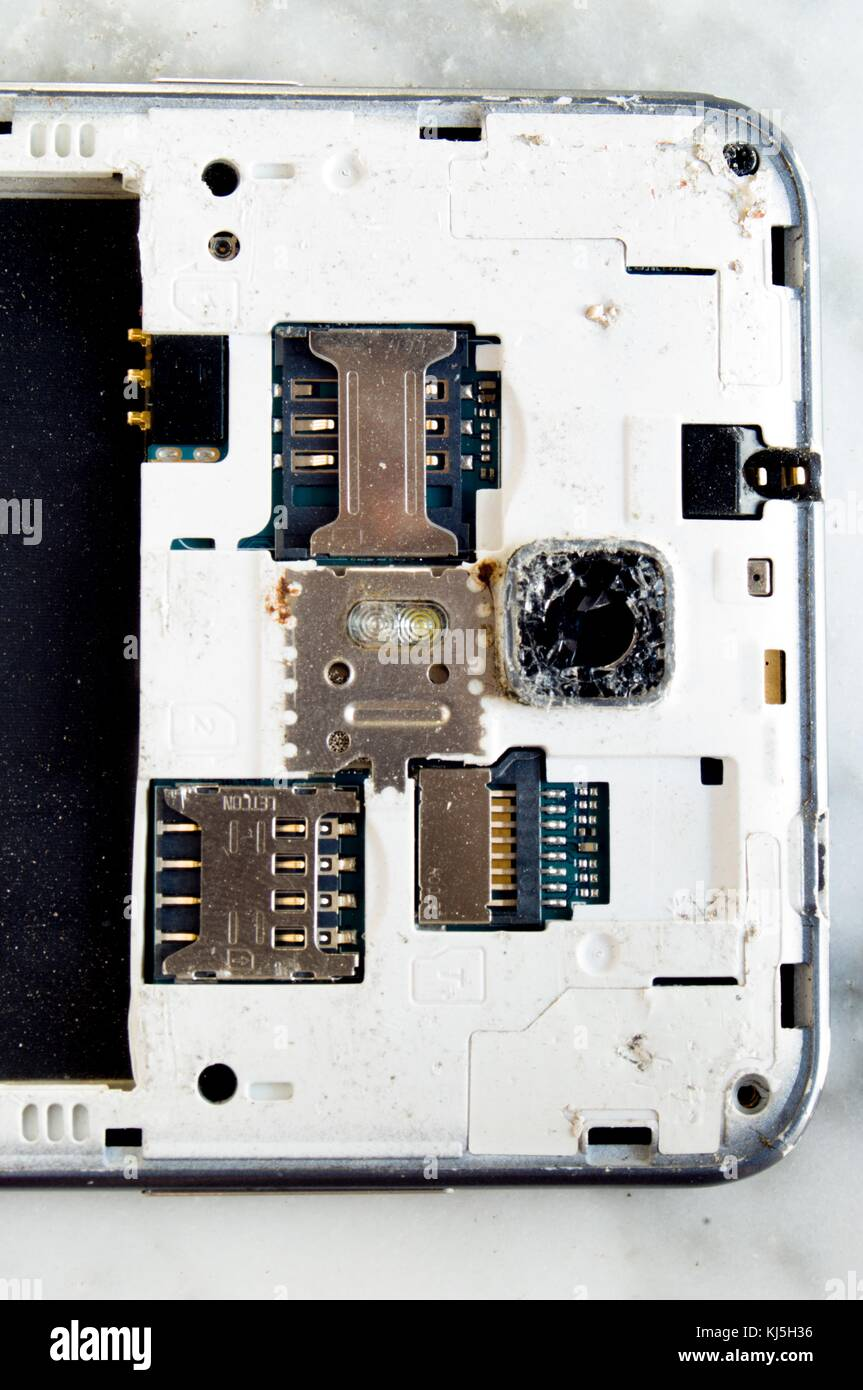 Back part of a smartphone with groove for sym, memory and camera rotates in pieces - Stock Image