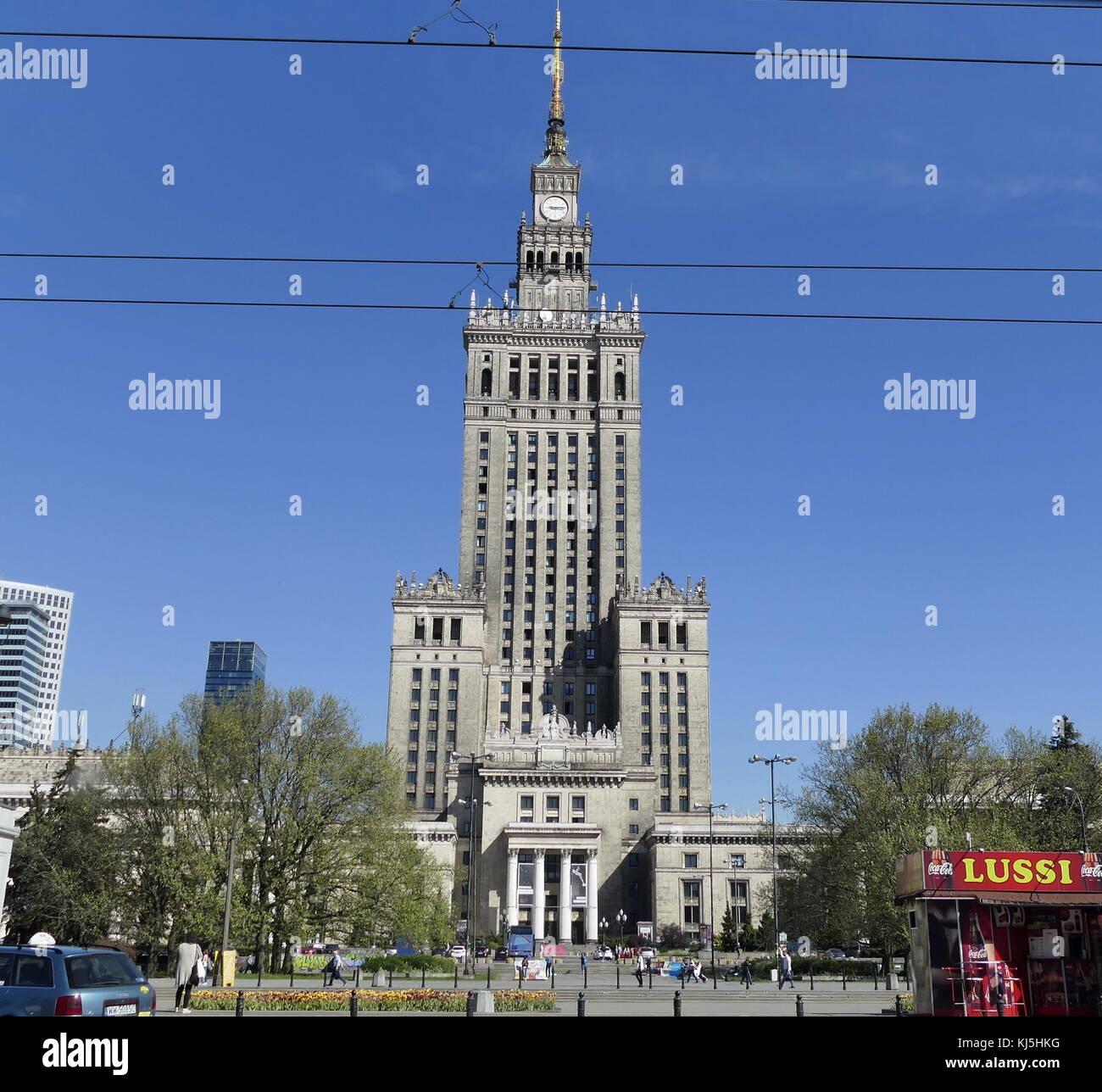 Constructed in 1955, the Palace of Culture and Science is a notable high-rise building in Warsaw, Poland. Stock Photo