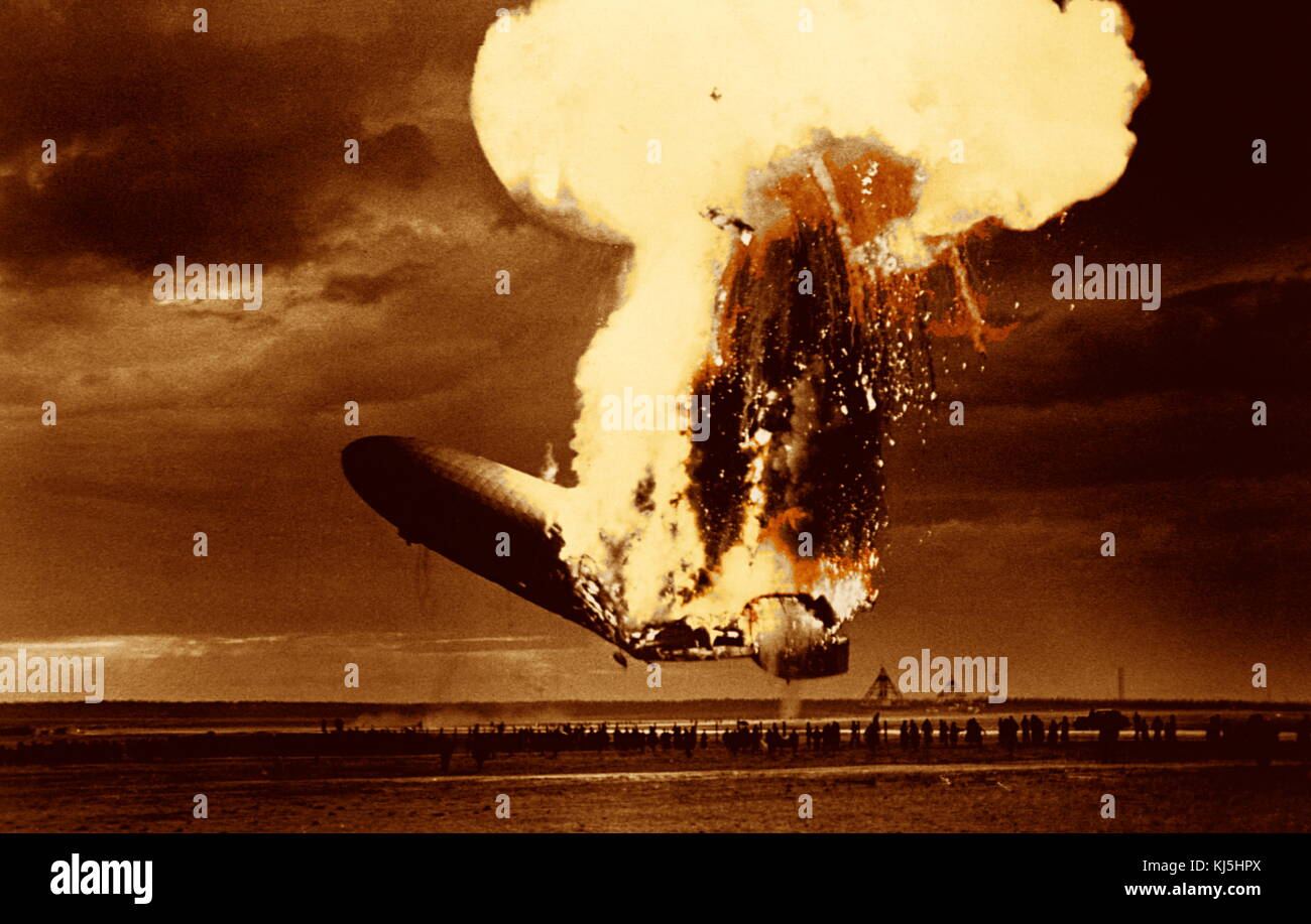 The Hindenburg disaster occurred on May 6, 1937, as the German passenger airship LZ 129 Hindenburg caught fire and - Stock Image