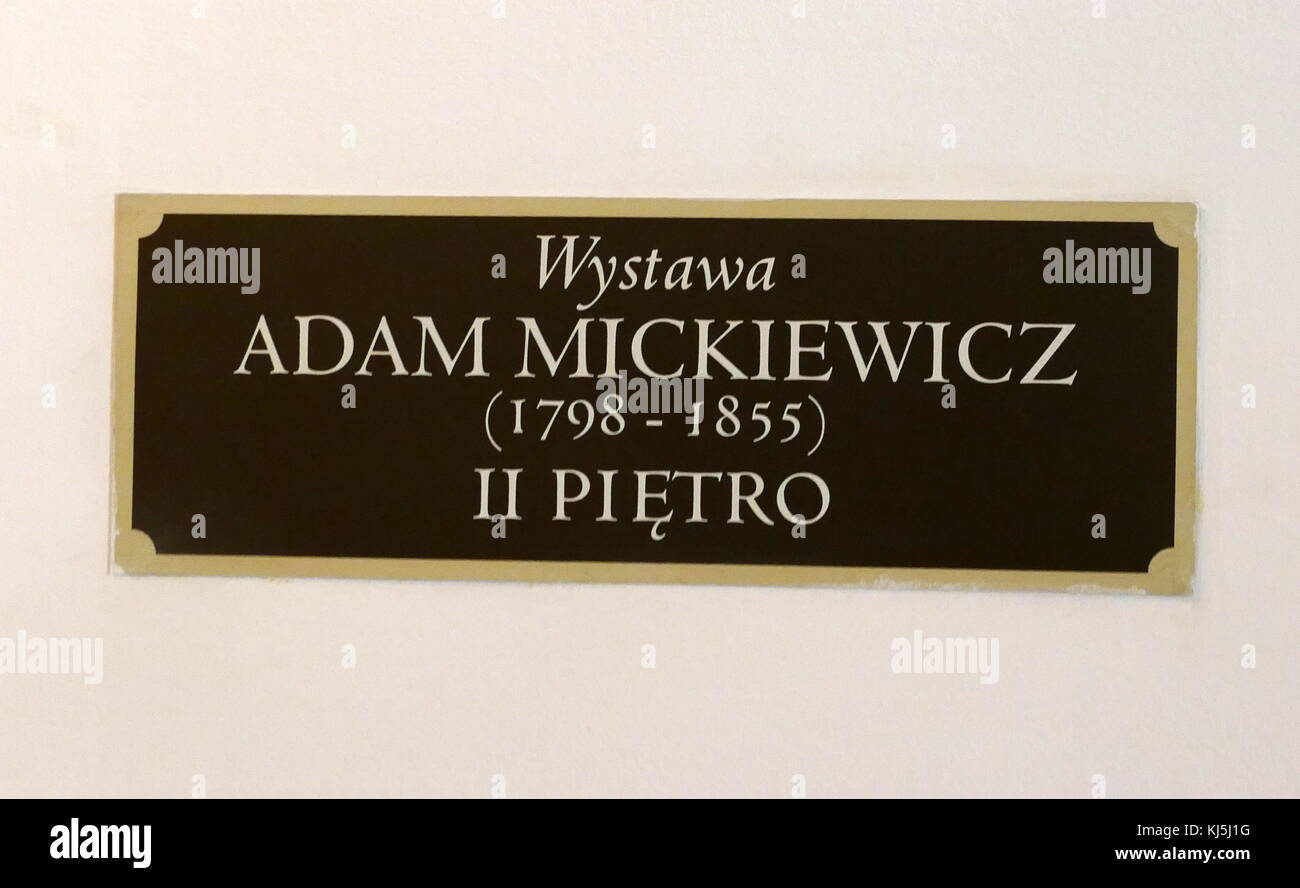 Plaque outside the Warsaw home of Adam Mickiewicz (1798 – 1855) , Polish poet, dramatist, essayist, publicist, translator, - Stock Image