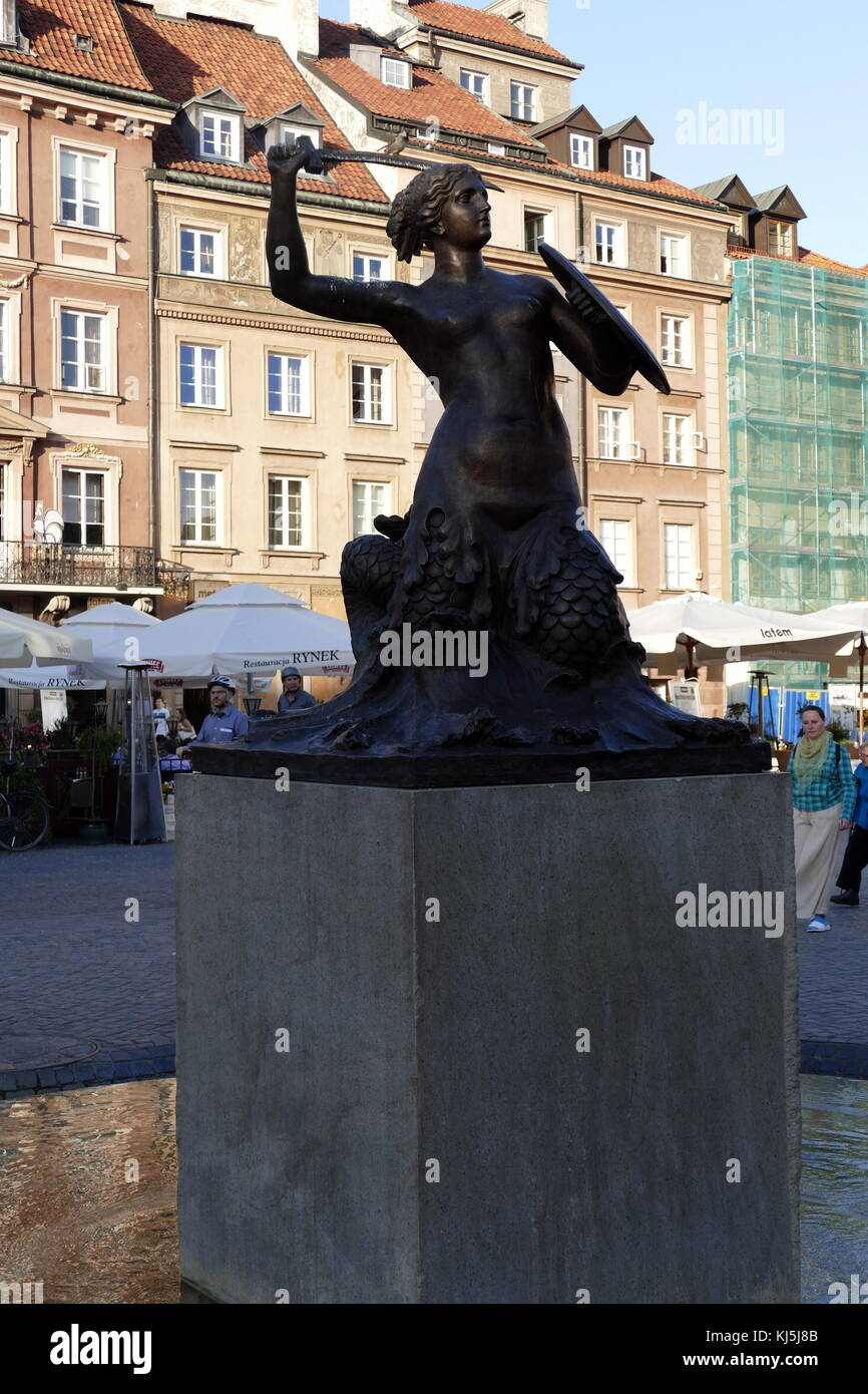 The Mermaid sculpture in the Old Town Square, Warsaw, Poland, was designed by Varsovian sculptor, Konstanty Hegel. - Stock Image