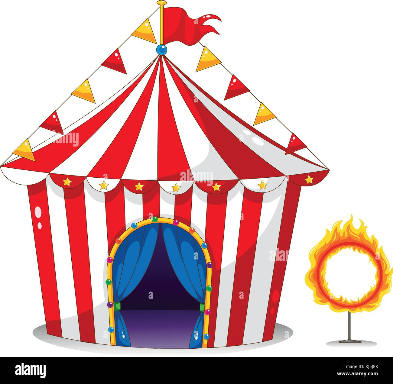Illustration of a circus tent beside a ring of fire on a white background - Stock Image