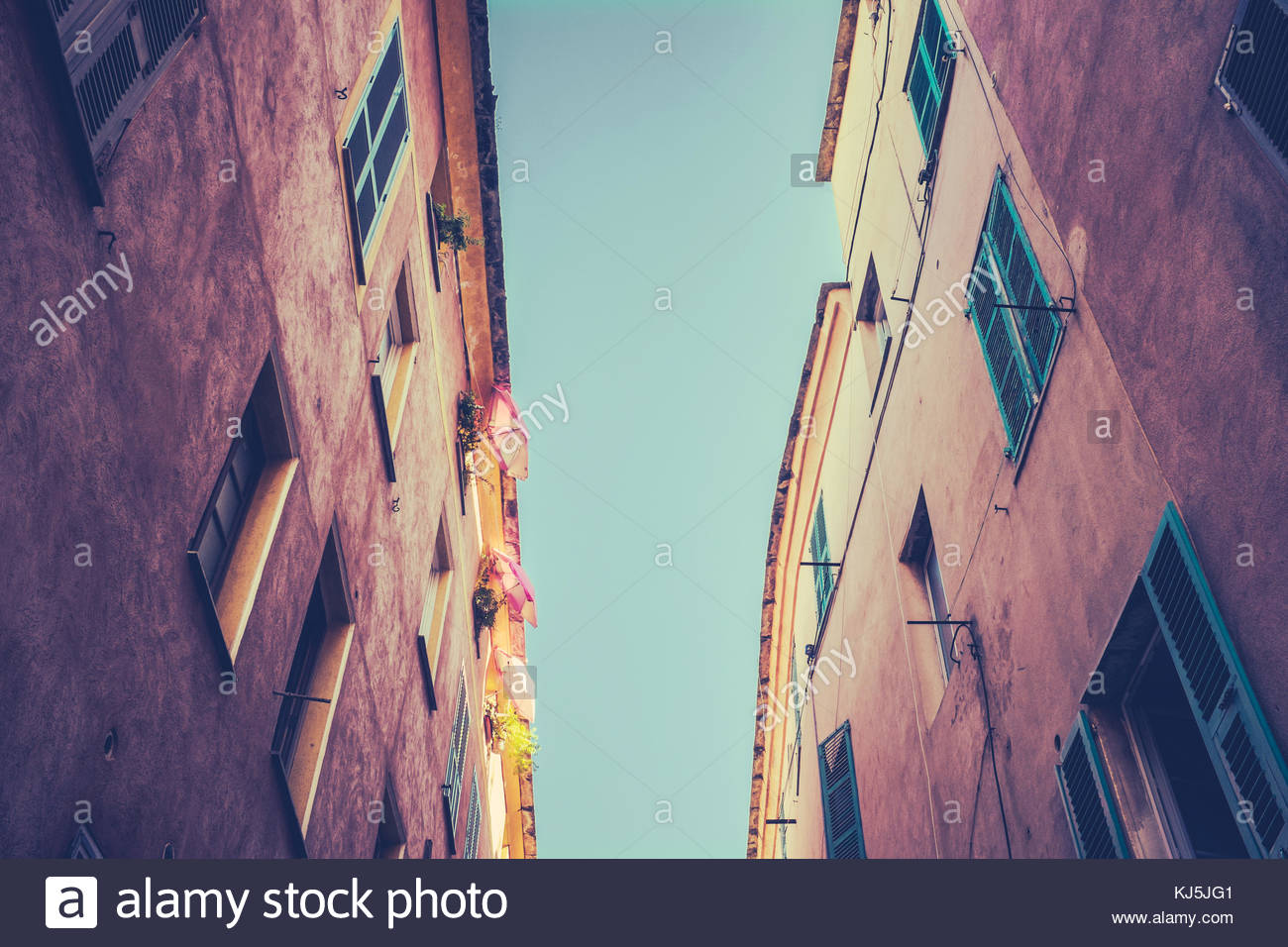 harbour buildings in southern france - Stock Image