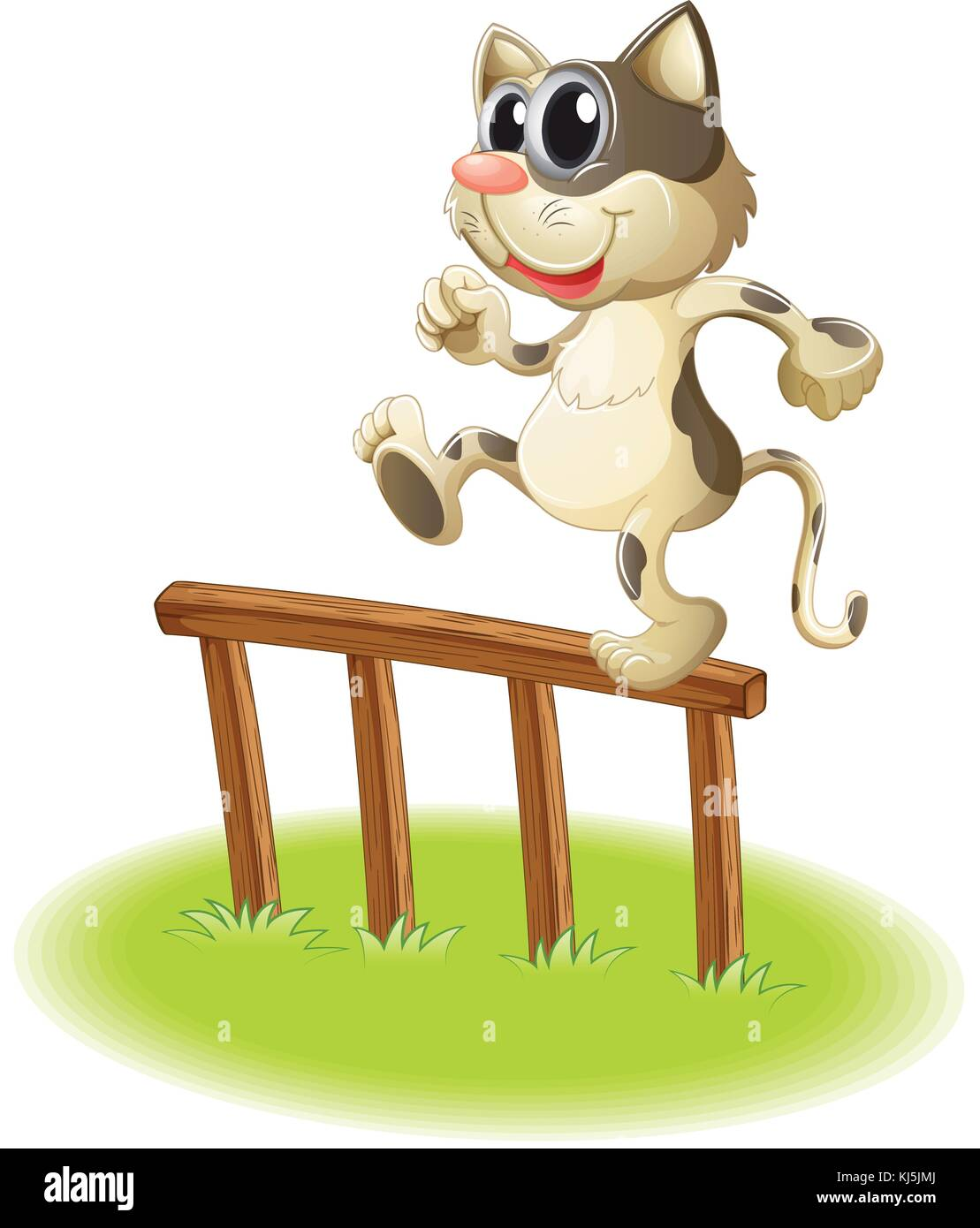 Illustration of a cat crossing the fence on a white background - Stock Vector