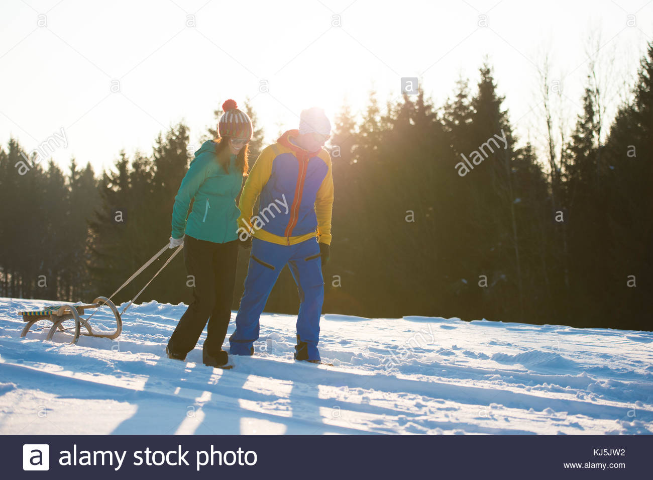 Sledding in winter - Stock Image