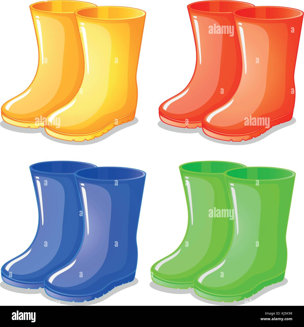 Illustration of the four boots in different colors on a white background - Stock Vector