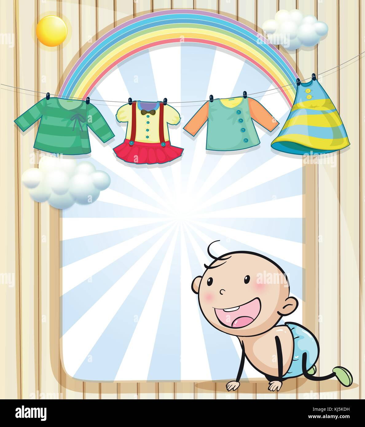 Illustration of a baby girl's clothes hanging - Stock Vector