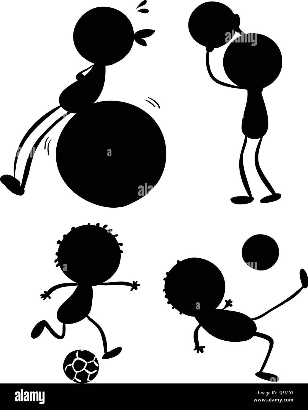 Illustration of the silhouettes of sporty people on a white background - Stock Image