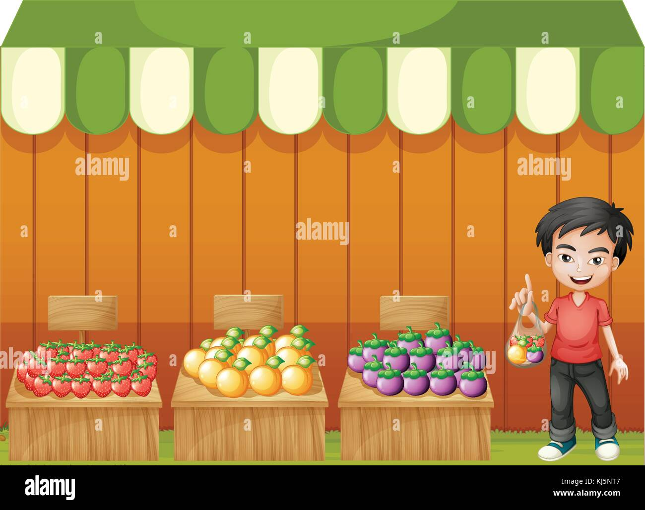 Illustration of a fruit shop with a young boy wearing a red shirt on a white background Stock Vector