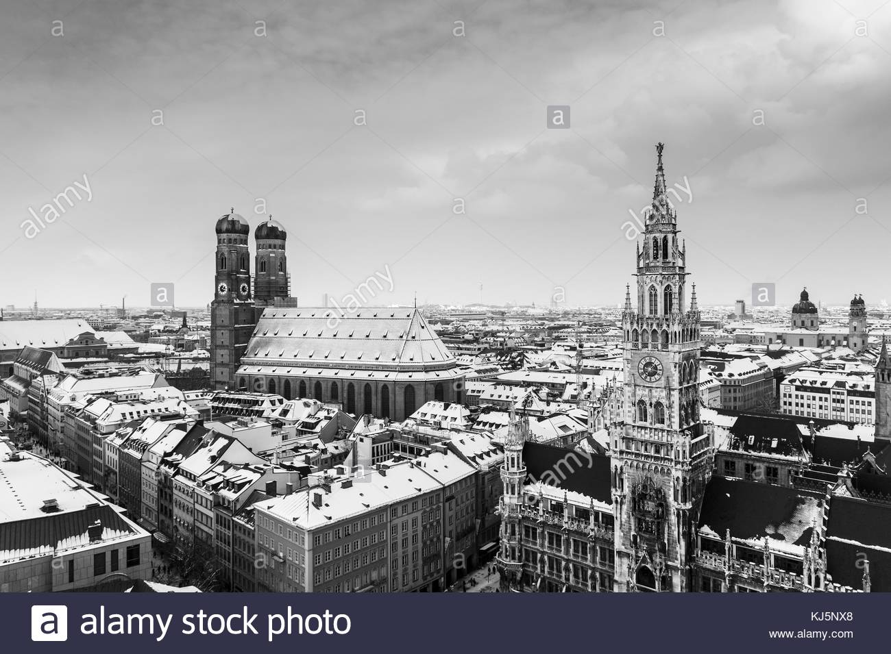 Black and white city overview of Munich, Germany - Stock Image
