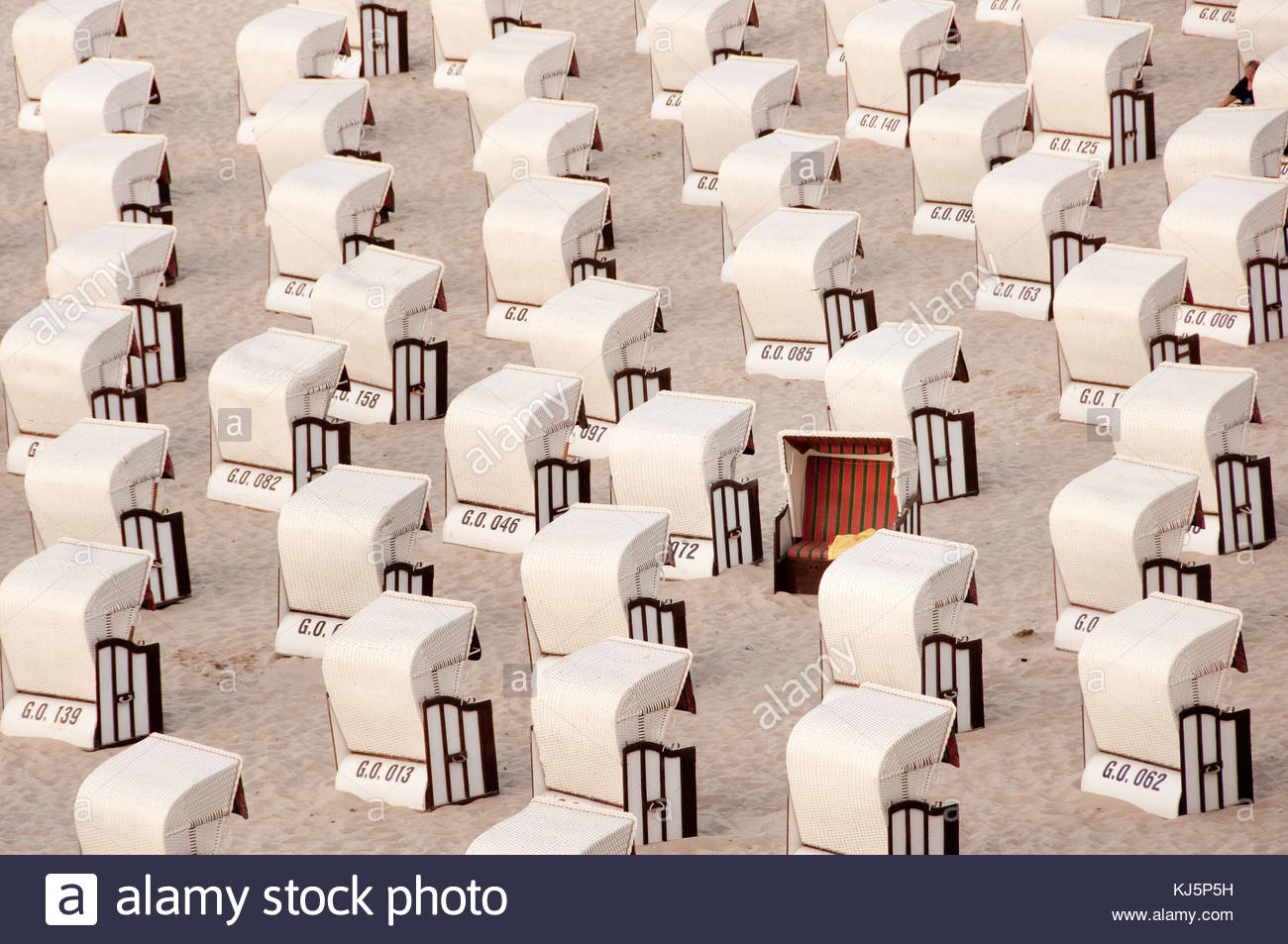 Rows of beach chairs with one turned the other way round - Stock Image