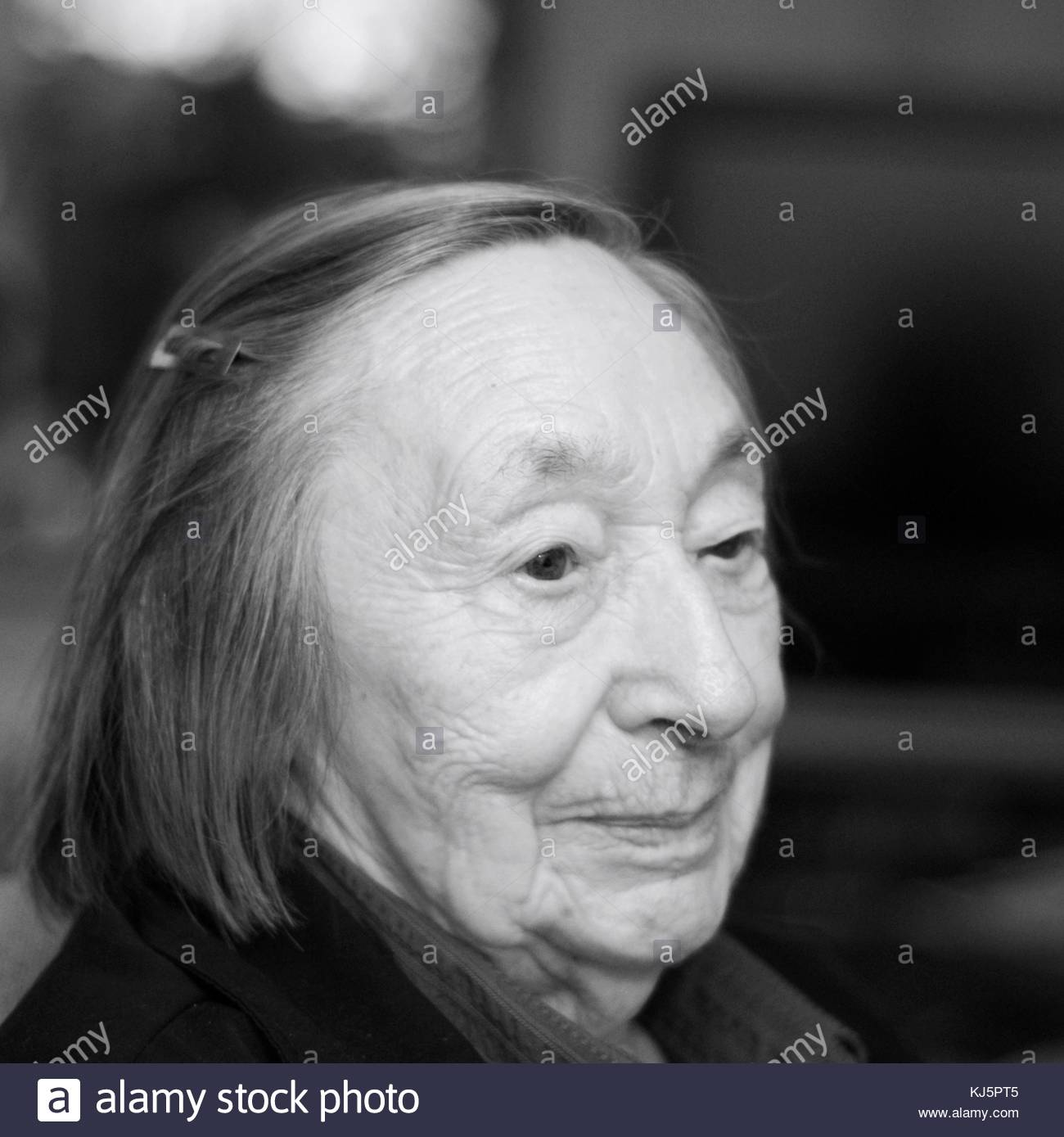 Black and white portrait of senior woman - Stock Image