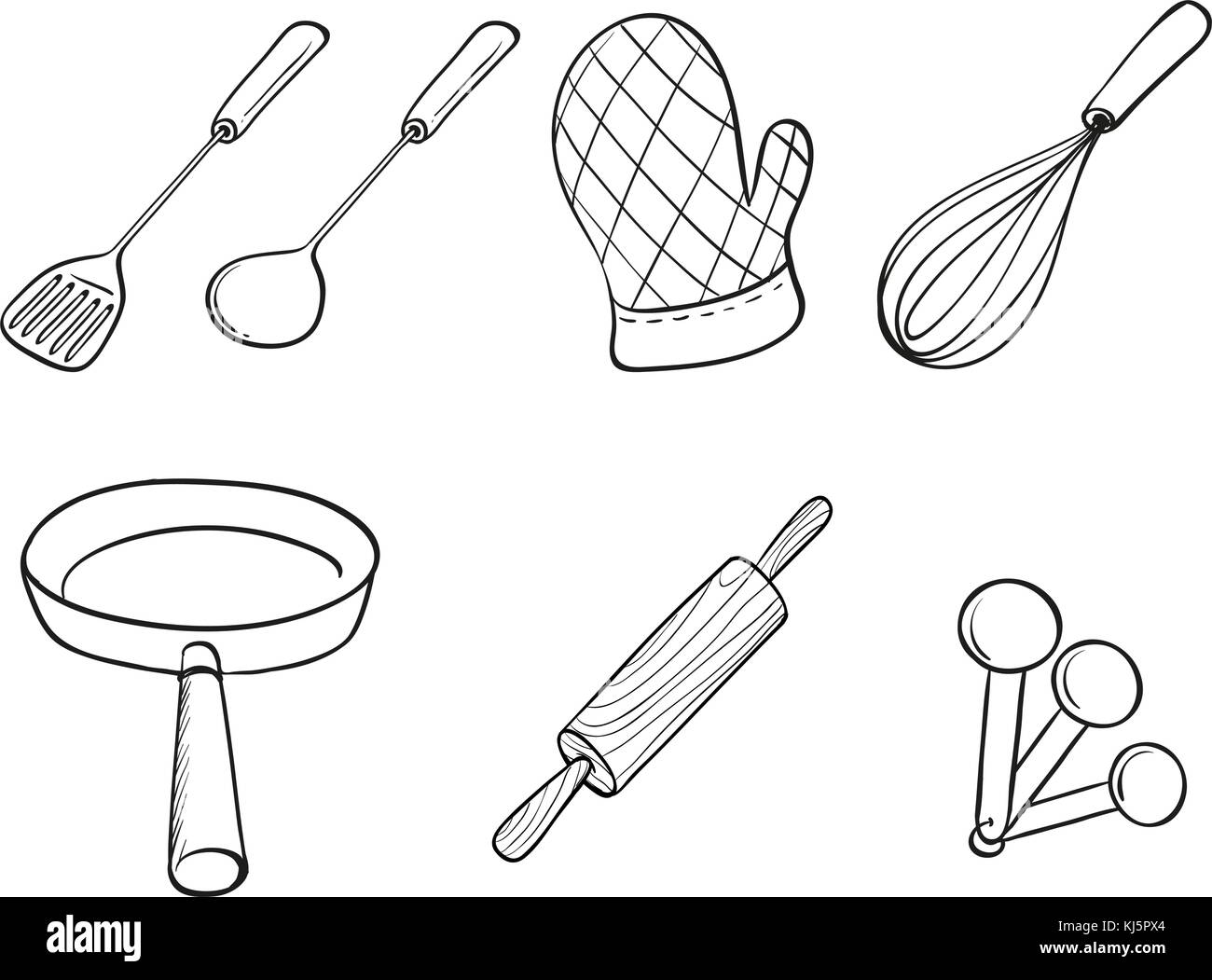Illustration of the silhouettes of kitchen utensils on a white background - Stock Vector