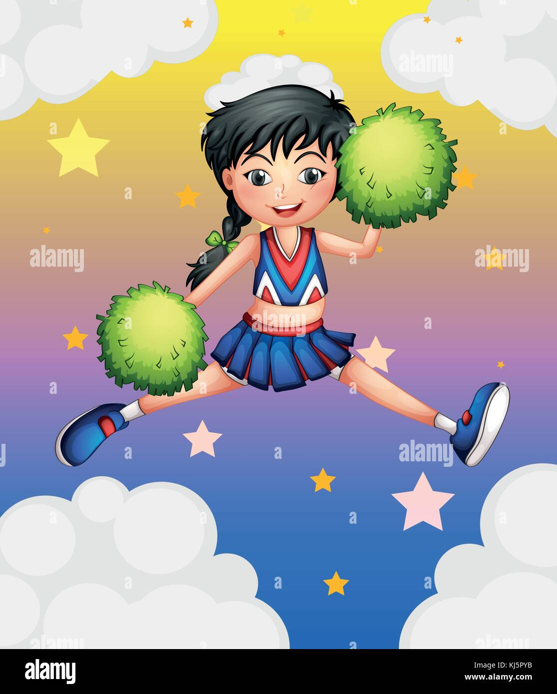 Illustration of a cheerleader jumping with her green pompoms - Stock Vector
