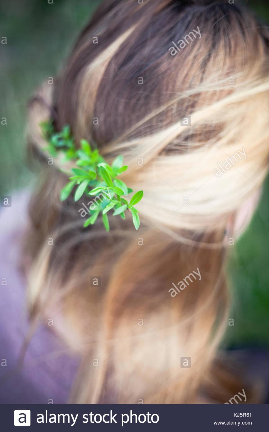 leaf in blonde long hair - Stock Image