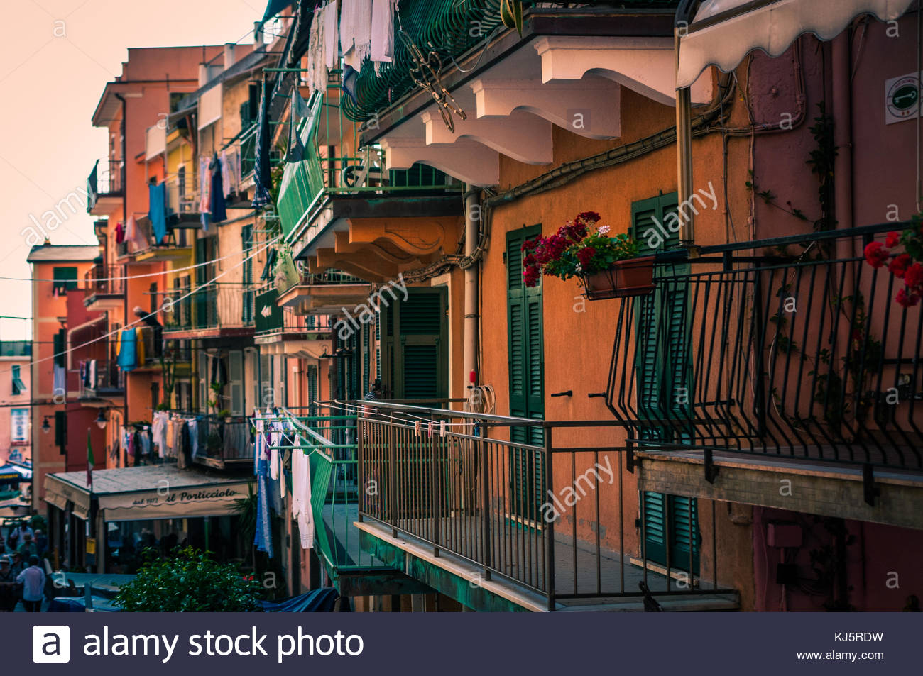 Colourful houses with balconies - Stock Image