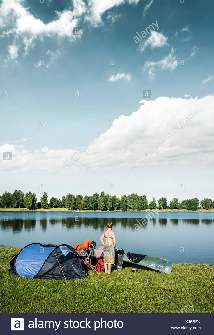 Camping by lake - Stock Image