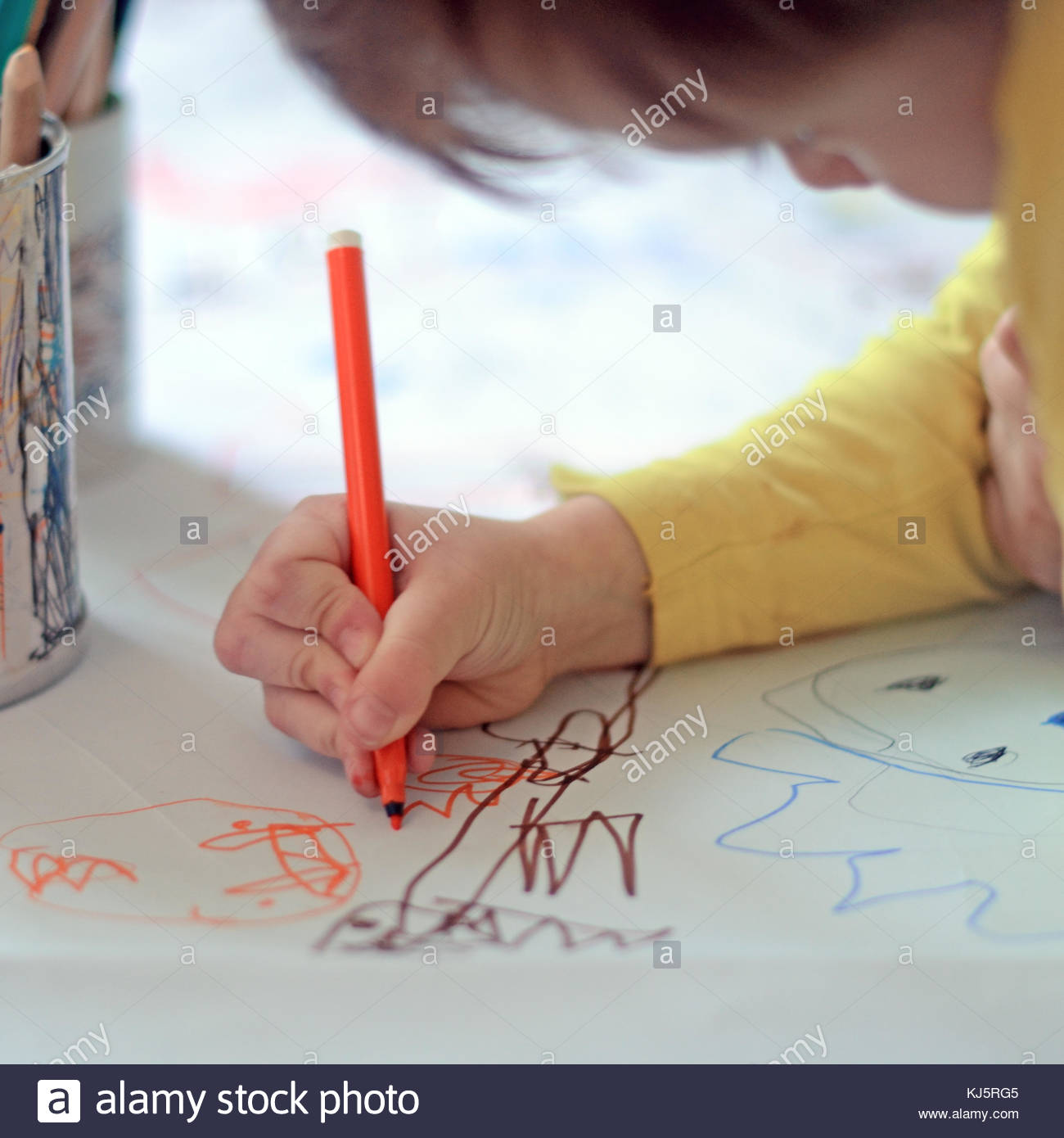 Child drawing - Stock Image