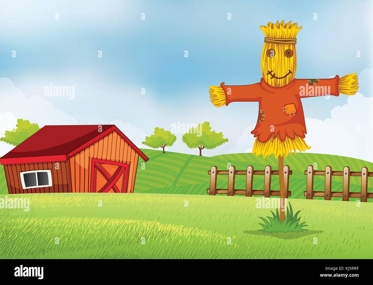 Illustration of a farm with a barn and a scarecrow - Stock Vector