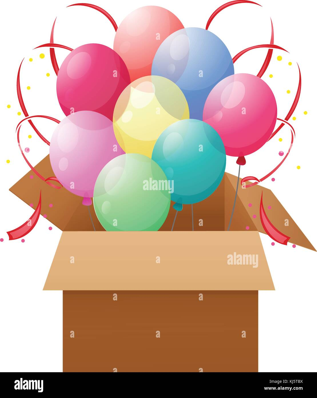 Illustration of a box with eight colorful balloons on a white background - Stock Image