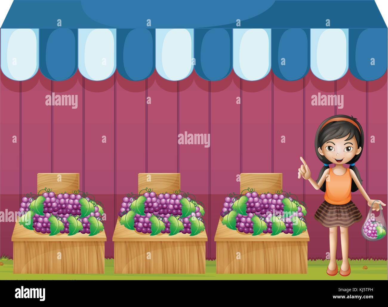 Illustration of a girl selling grapes on a white background Stock Vector
