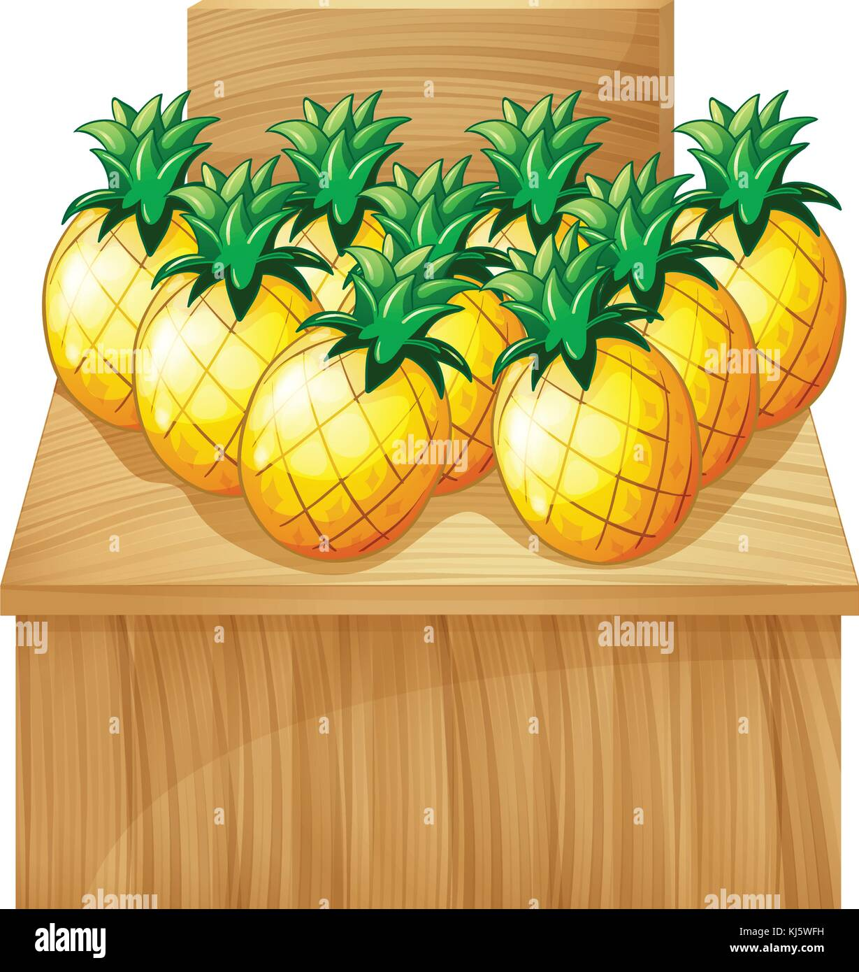 Illustration of a pineapple fruitstand with an empty board on white background Stock Vector