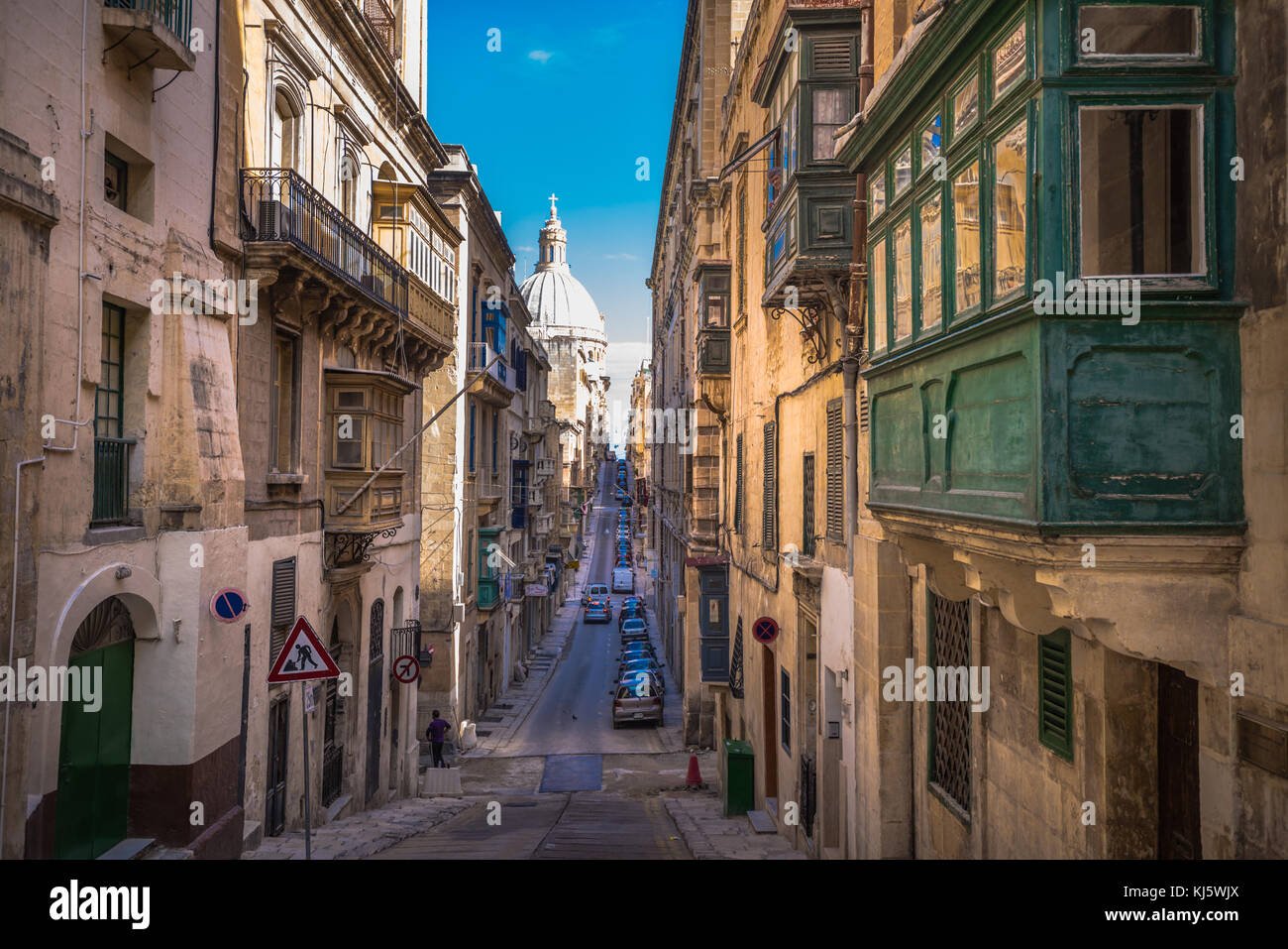 Street of Valletta with traditional balconies, Malta - Stock Image