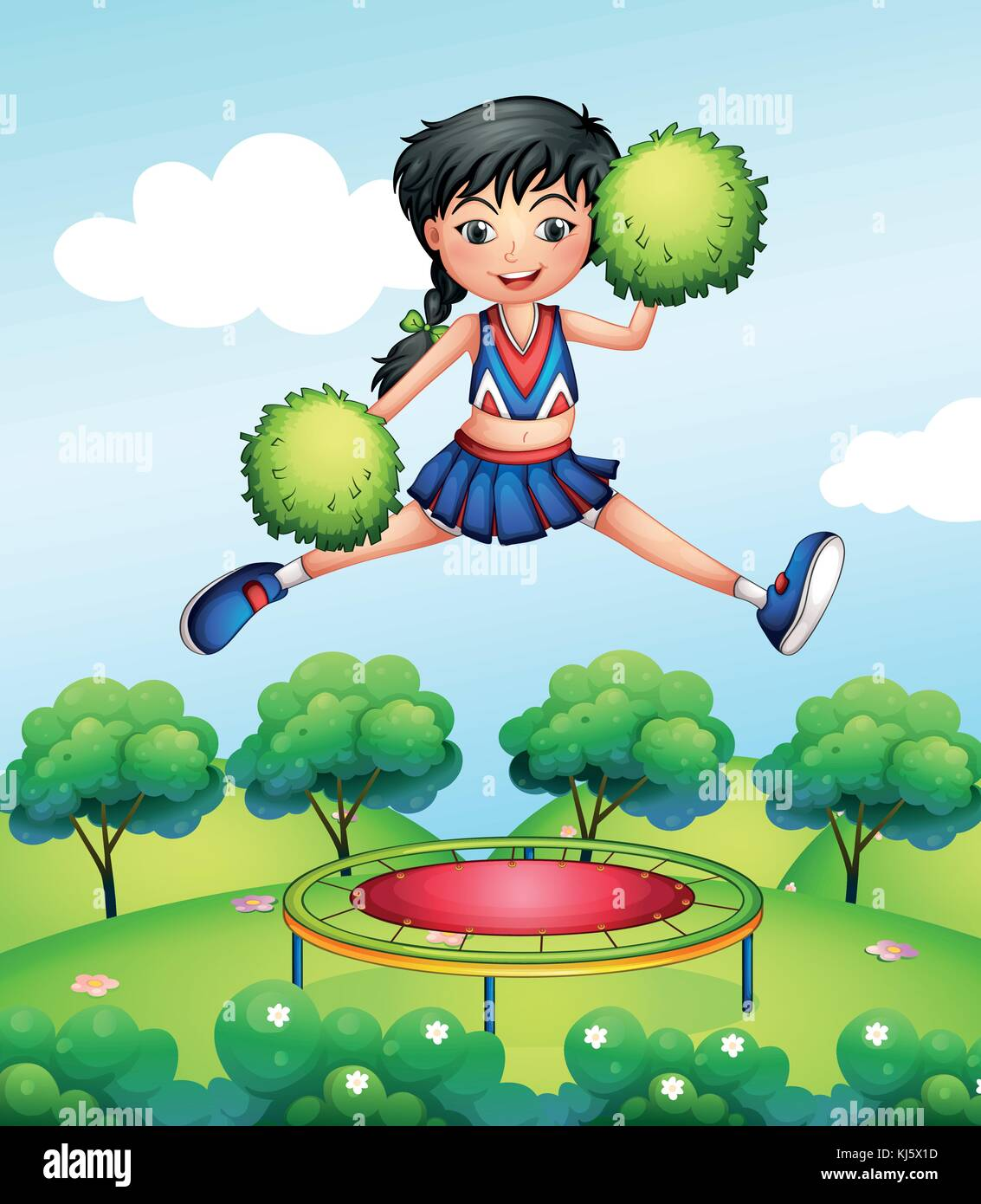 Illustration of a cheerleader jumping with her green pompoms above a trampoline - Stock Vector