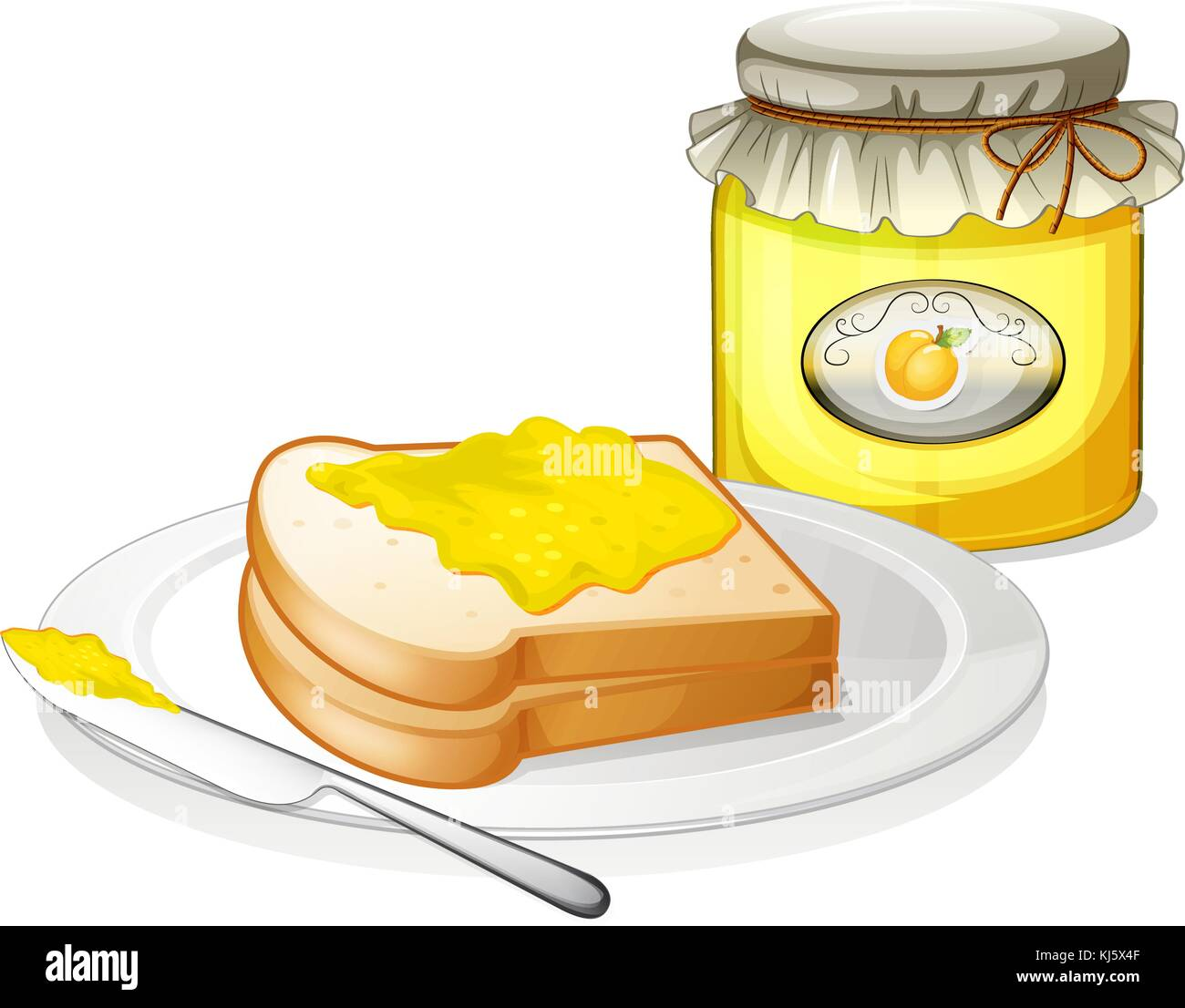 Illustration of a lemon jam with bread on a white background - Stock Vector