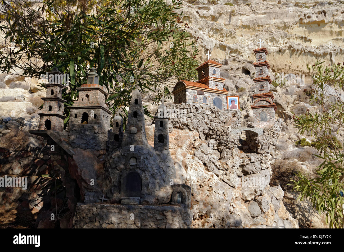 Memorial model of churches and religeous buildings in great detail, made from pebbles found on beach, near Archangelos, Stock Photo