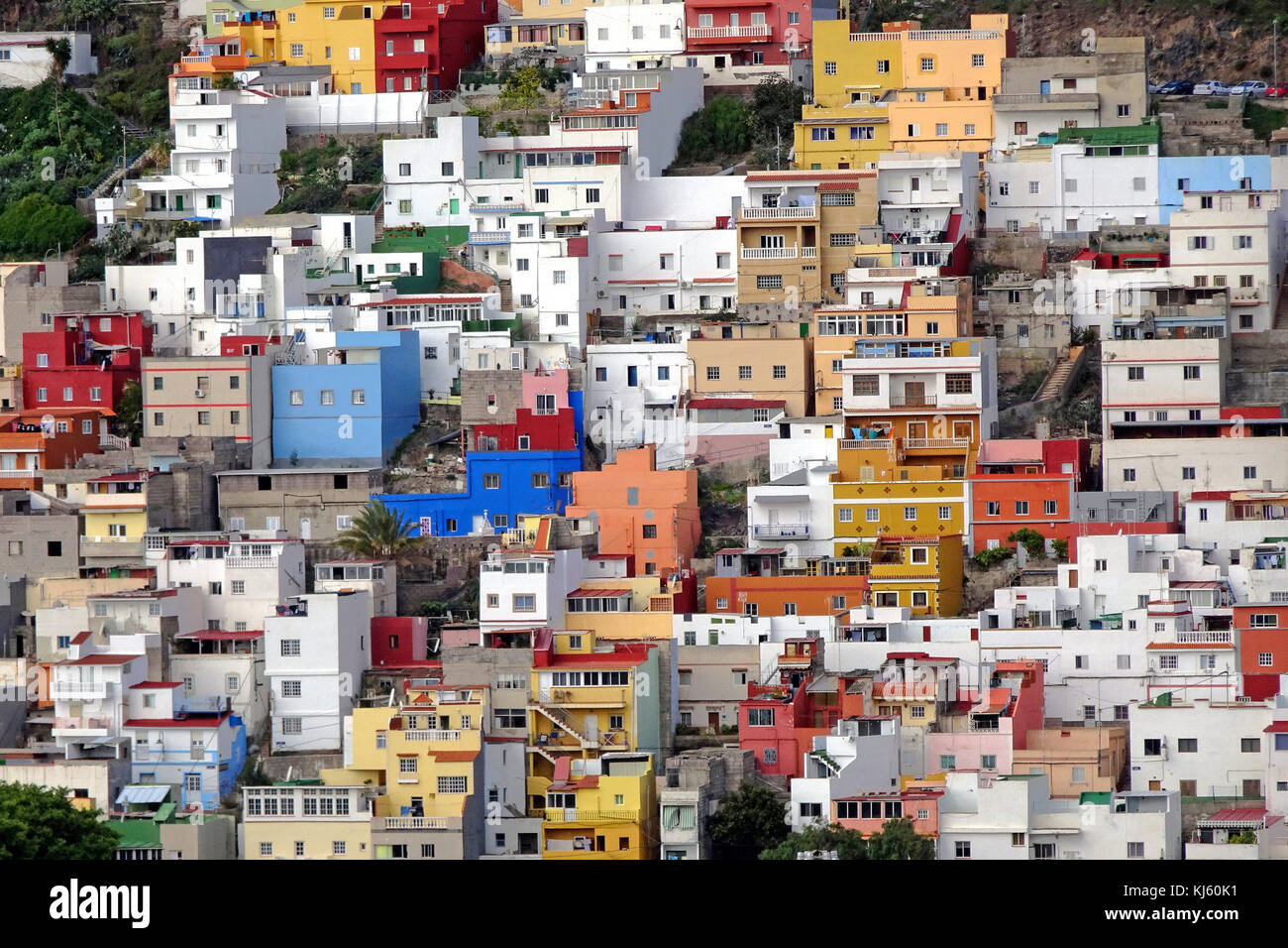 Colourful cube houses at San Andres, fishing village at south-east of the island, Tenerife island, Canary islands, - Stock Image