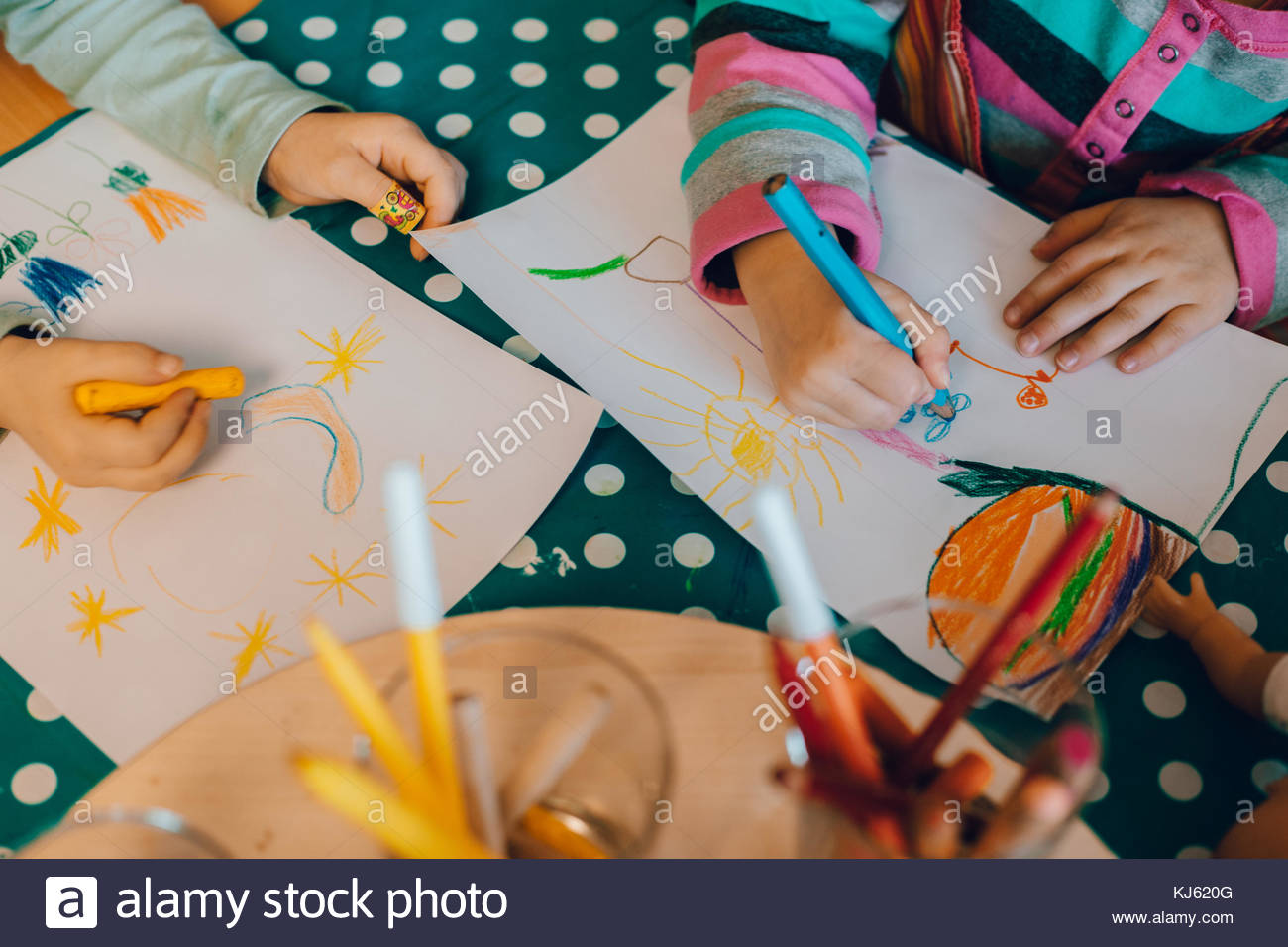 Children painting, top view - Stock Image