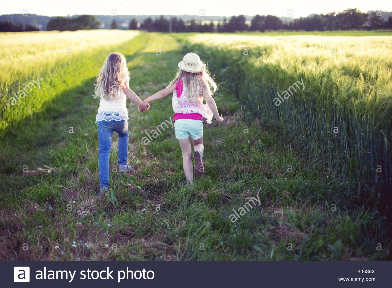 happy hippie days in the meadow - Stock Image