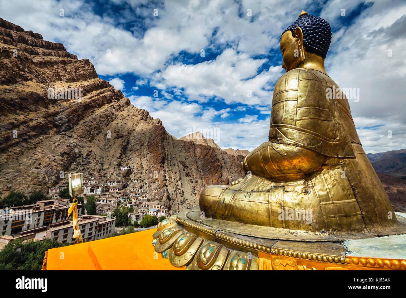 Buddha Shakyamuni statue overlooking Hemis monastery -Tibetan Buddhist monastery (gompa) of the Drukpa Lineage, - Stock Image