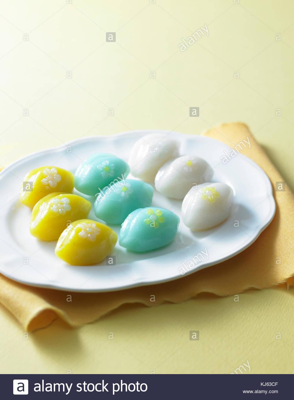 Rice cake Korean food traditional culture songpyeon - Stock Image
