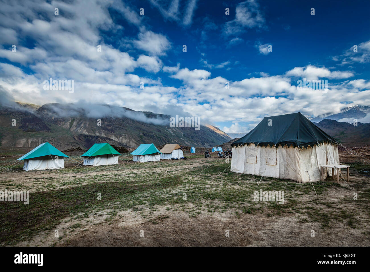 Tent camp in Himalayas - Stock Image