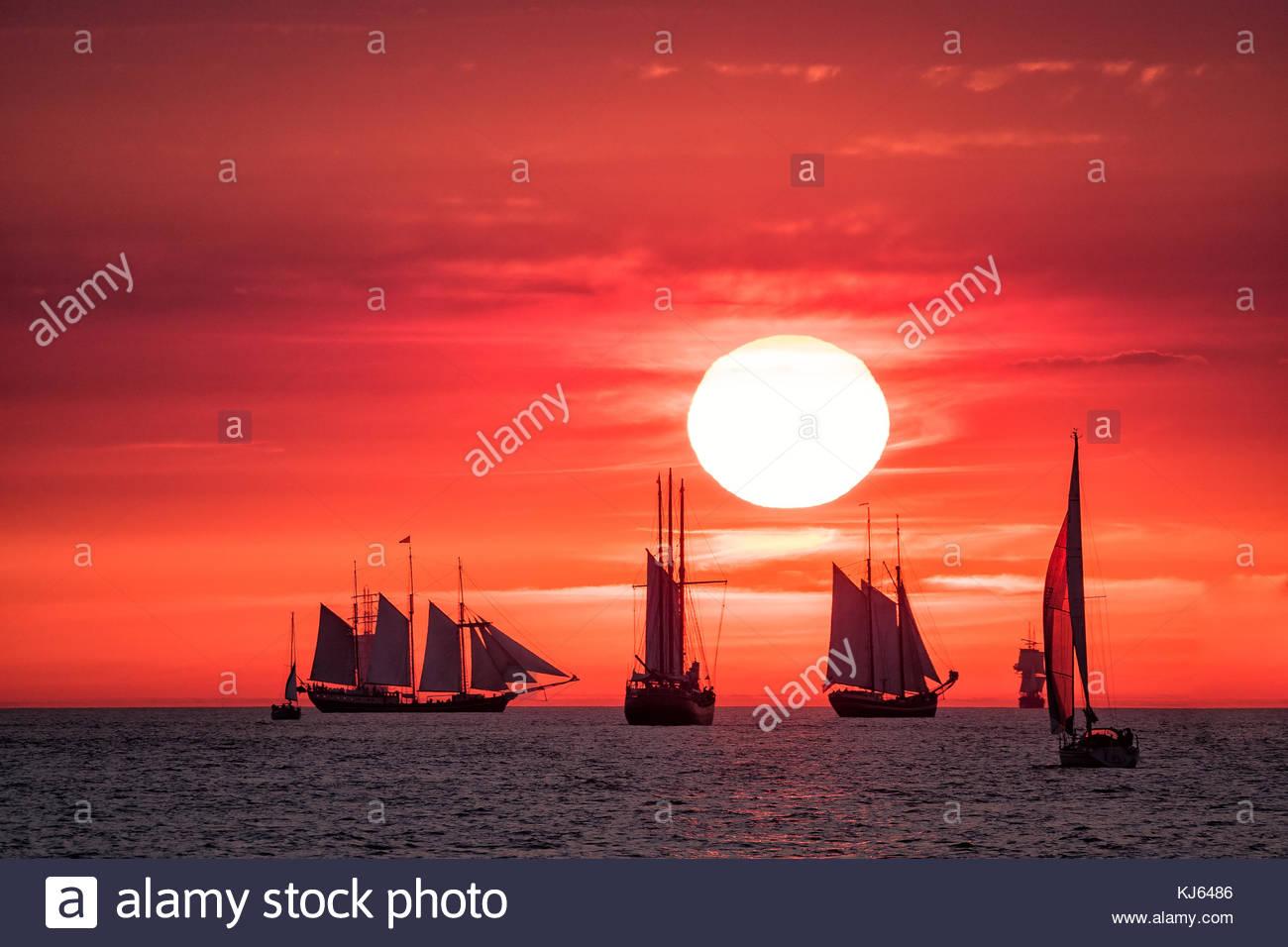 Sailing ships on the Hanse Sail - Stock Image