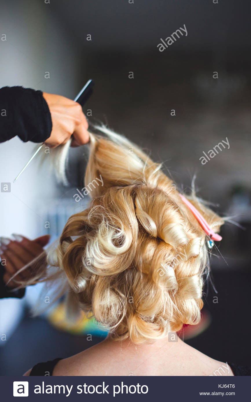 Hairdresser at work - Stock Image