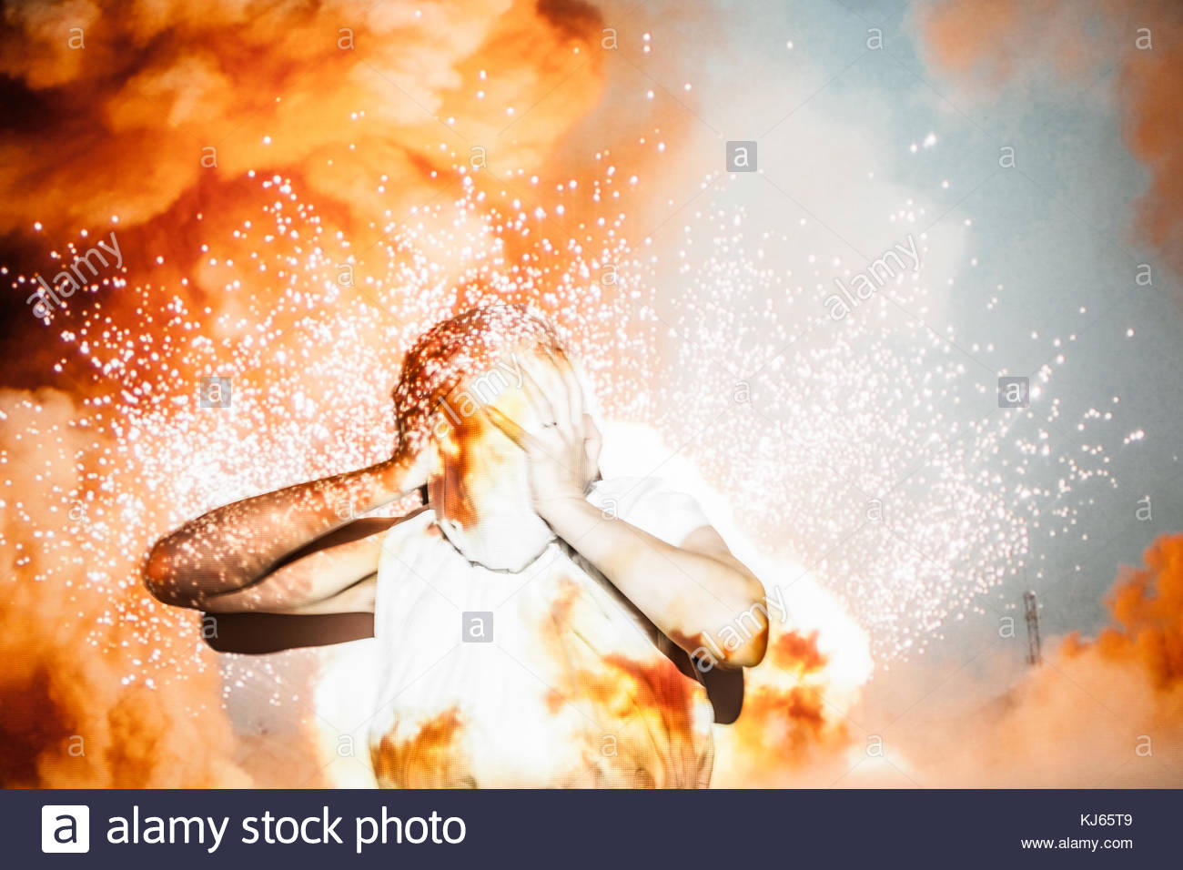 Person against projector background Stock Photo