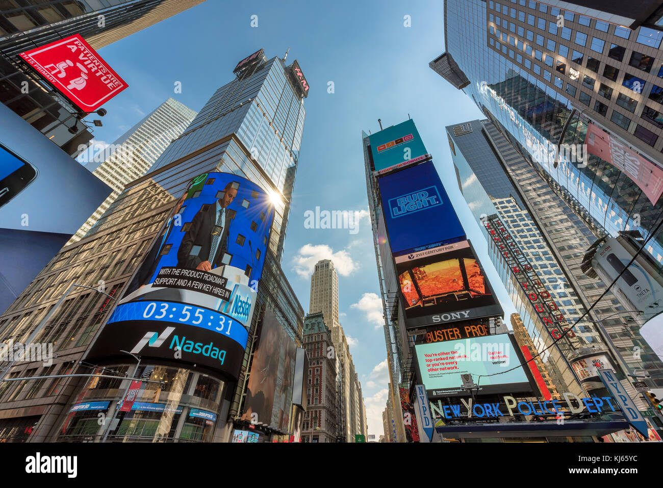 NASDAQ building of Time Square in New York - Stock Image
