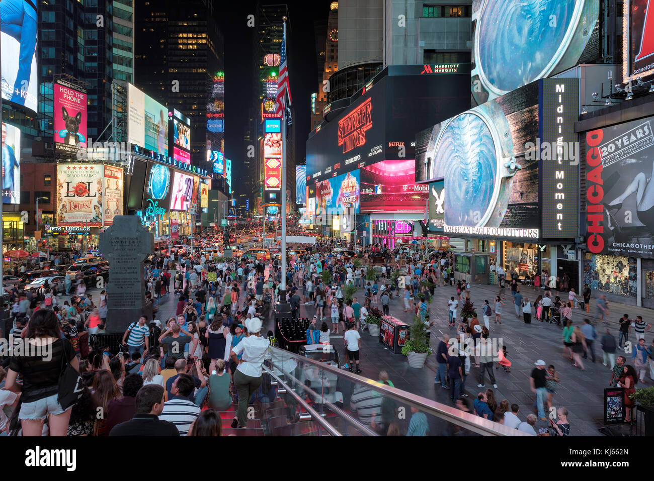 Times Square at night in Manhattan, New York - Stock Image